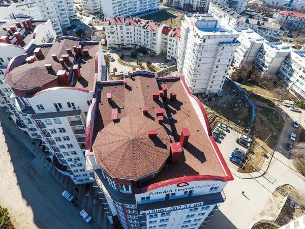 Гибкая черепица СОТА на крышах многоэтажек