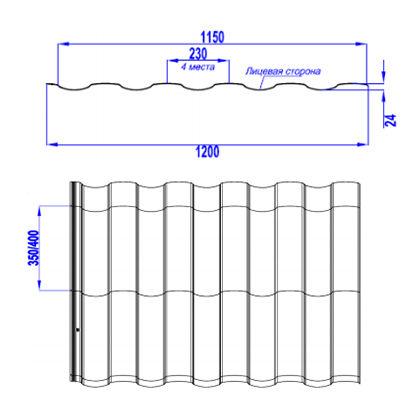 Размеры профиля металлочерепицы монтекристо
