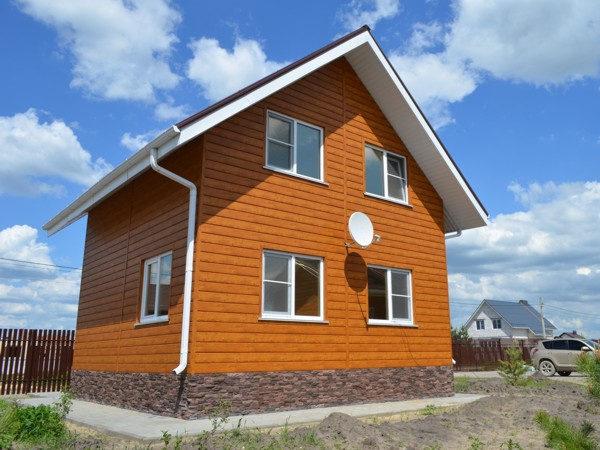 """Металлический сайдинг """"ЭкоБрус"""" (GL) отделка двухэтажного дома"""